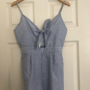 Everly Blue Striped Tied Romper